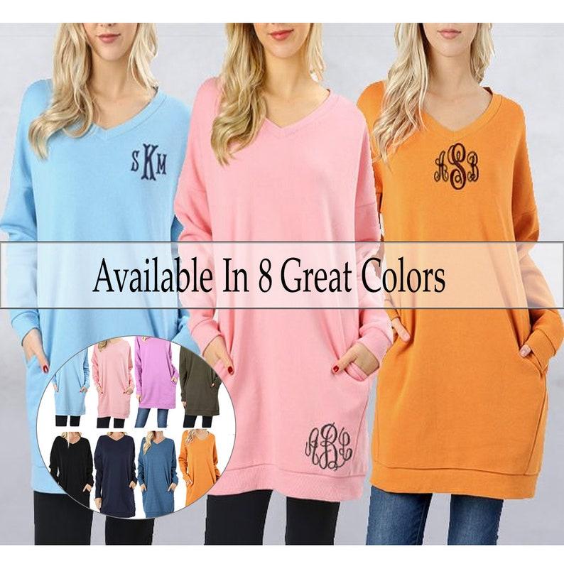 f9e6e087f4c PULLOVER EXTRA LONG Crew Fleece Pullover Monogrammed V-Neck | Etsy