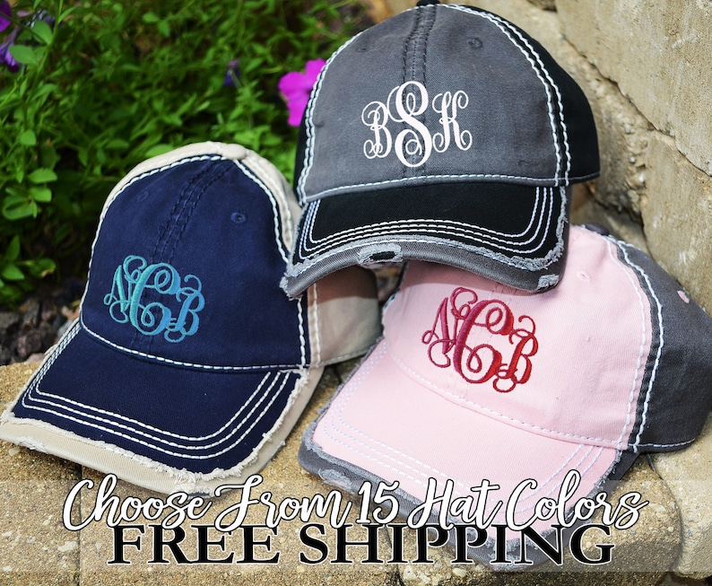 DISTRESSED BASEBALL Hat Monogrammed Frayed   Distressed  3f372706211