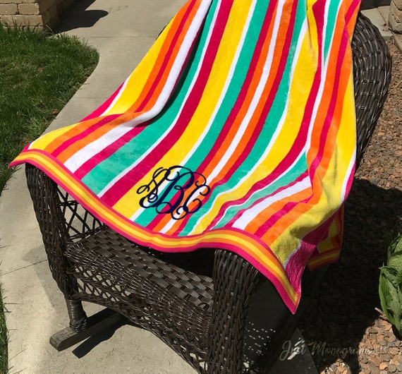 Huge Monogram Oversized Beach Towel Personalized Beach Etsy