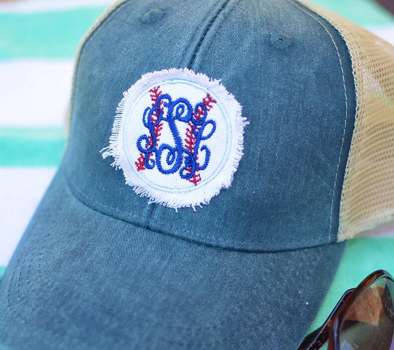 1729bf45173 Monogram Baseball Trucker Hat Frayed Baseball Caps
