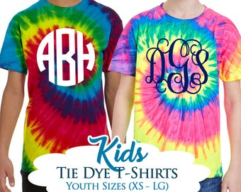 Personalized YOUTH / KIDS Tie Dye Shirt, Monogram Kids Tie Dye Shirts, Short Sleeve Tie Dye