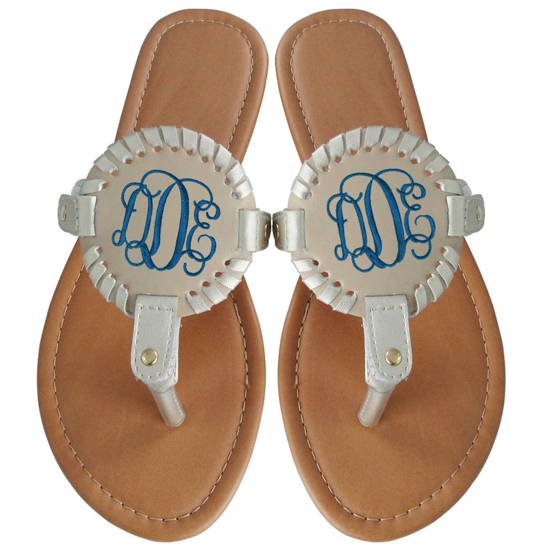99c74ebdda881 Monogram SANDALS Medallion Flip Flops Monogram Sandals