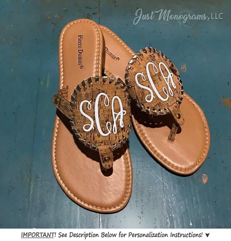 af68bc4509afa6 Embroidered Monogram Pierre Dumas Medallion Cork Disc Sandals