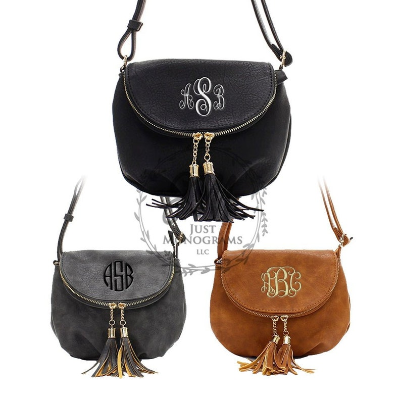 a2c75cf2d976 Leather Textured Saddle Crossbody Purse Monogrammed Tassel