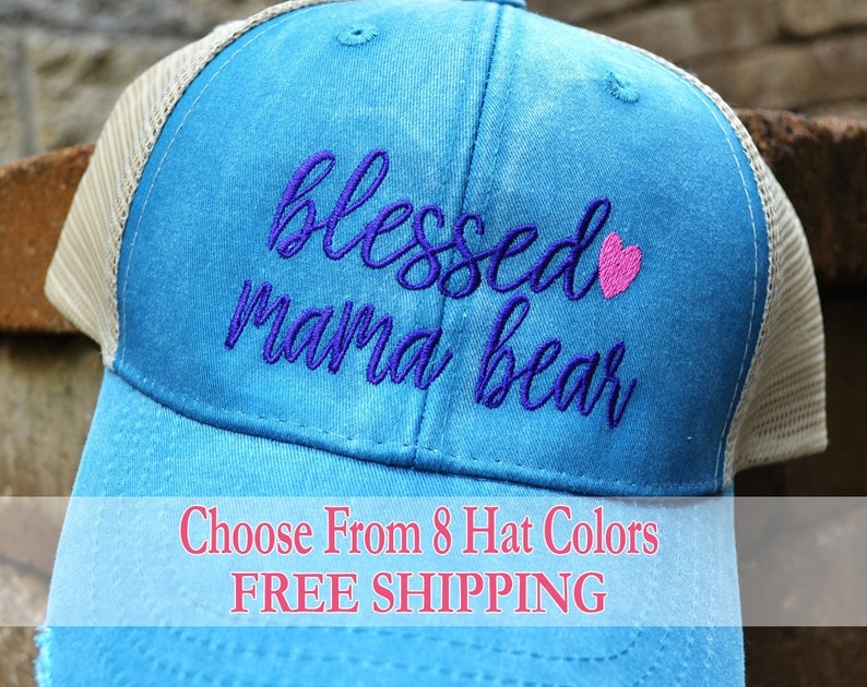 0c1d9fae40fcc8 Embroidered blessed mama bear Hat Mama Bear Hat | Etsy
