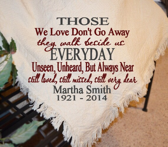personalized sympathy afghans memorial throws personalized etsy
