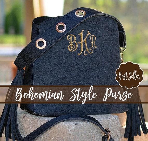 BOHO Crossbody Bag Personalized Monogram BOHO Purse Bohemian   Etsy 671639f6a6