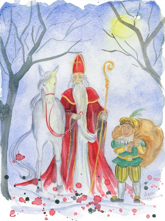 Image result for sinterklaas and zwarte piet illustration