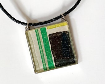 Color Block Pendant Necklace made with Original 1950s Danish Wallpaper in a Contemporary Geometric Pattern