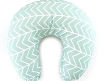 Nursing Pillow Cover Mint Chevron. Nursing Pillow. Nursing Pillow Cover. Mint Nursing Pillow Cover.