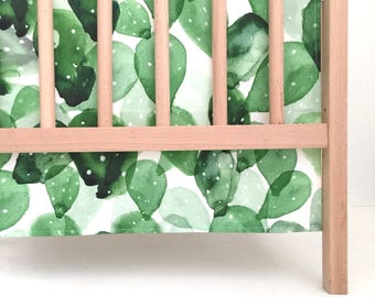 Crib Skirt Double Watercolor Cactus. Baby Bedding. Crib Bedding. Crib Skirt Boy. Baby Boy Nursery. Cactus Crib Skirt.