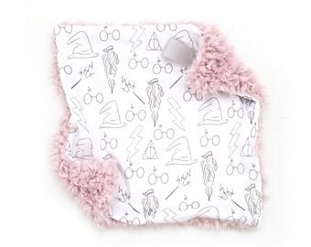 Lovey Gray Wizard. Lovey. Gray Lovey. Wizard Lovey. Mini Baby Blanket. Security Blanket. Lovie. Minky Lovey.