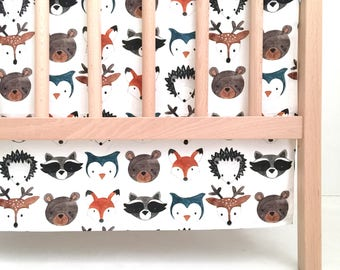Crib Skirt Watercolor Woodland Animals. Baby Bedding. Crib Bedding. Crib Skirt Boy. Baby Boy Nursery. Deer Crib Skirt. Woodland Nursery.
