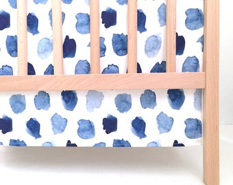 Crib Skirt Watercolor Navy Dots. Baby Bedding. Crib Bedding. Crib Skirt Boy. Baby Boy Nursery. Blue Dot Crib Skirt. Blue Crib Skirt.