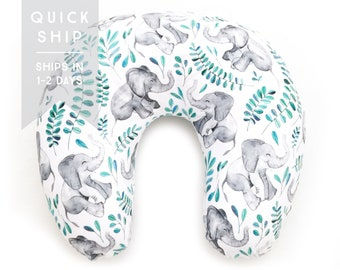 Nursing Pillow Cover Emerald Baby Elephants. Nursing Pillow. Nursing Pillow Cover. Elephant Nursing Pillow Cover.