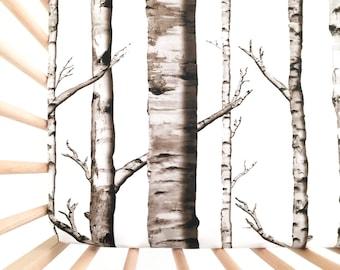 Crib Sheet: Birch Trees. Fitted Crib Sheet. Crib Sheet. Tree Crib Sheet. Brown Crib Sheet. Baby Gift. Birch Tree Crib Sheet.