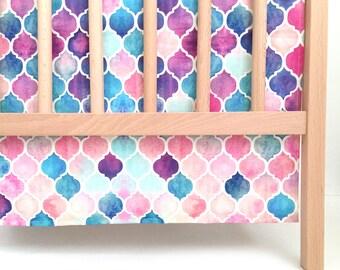 Crib Skirt Mermaid Moroccan. Baby Bedding. Crib Bedding. Crib Skirt Girl. Baby Girl Nursery. Purple Crib Skirt. Mermaid Crib Skirt.
