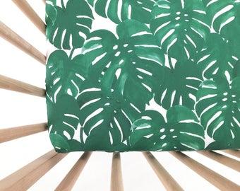 Crib Sheet Monstera Palm. Fitted Crib Sheet. Baby Bedding. Crib Bedding. Crib Sheets. Palm Crib Sheet.