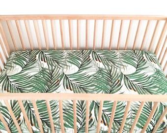 Crib Sheet King Palm. Fitted Crib Sheet. Baby Bedding. Crib Bedding. Crib Sheets. Palm Crib Sheet.