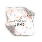Rosette Personalized Lovey. Lovey. Floral Lovey. Name Lovey. Mini Baby Blanket. Security Blanket. Lovie. Minky Lovey.