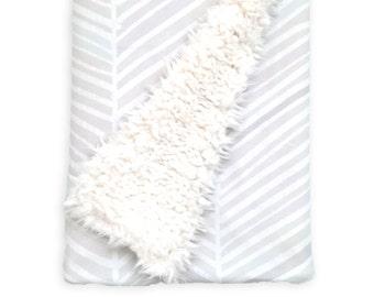 Baby Blanket Herringbone Hues of Gray. The Cloud Blanket. Faux Fur Baby Blanket. Minky Baby Blanket. Gray Chevron Baby Blanket.