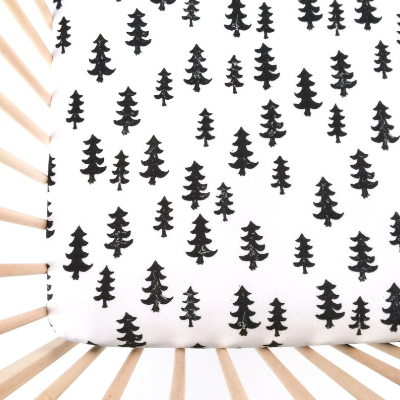 Crib Sheet Black Forest. Fitted Crib Sheet. Baby Bedding. image 0