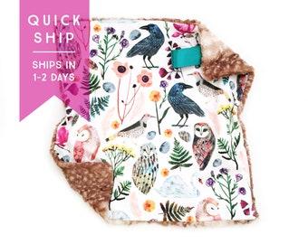 Lovey Floral Owls. Lovey. Owl Lovey. Floral Lovey. Mini Baby Blanket. Security Blanket. Lovie. Minky Lovey.