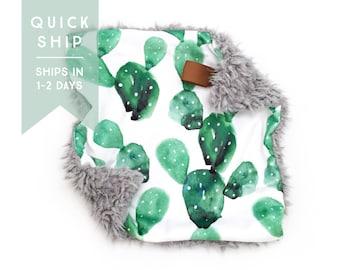 Lovey Watercolor Cactus. Lovey. Cactus Lovey. Green Lovey. Mini Baby Blanket. Security Blanket. Lovie. Minky Lovey.