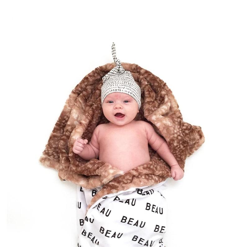 Baby Blanket: True North on White. Minky Blanket. image 0