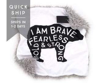 Lovey Brave Bear. Lovey. Bear Lovey. Woodland Lovey. Mini Baby Blanket. Security Blanket. Lovie. Minky Lovey.