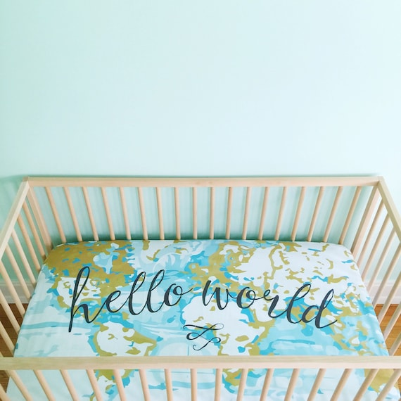 Crib Sheet Aqua Hello World. Fitted Crib Sheet. Baby Bedding. | Etsy