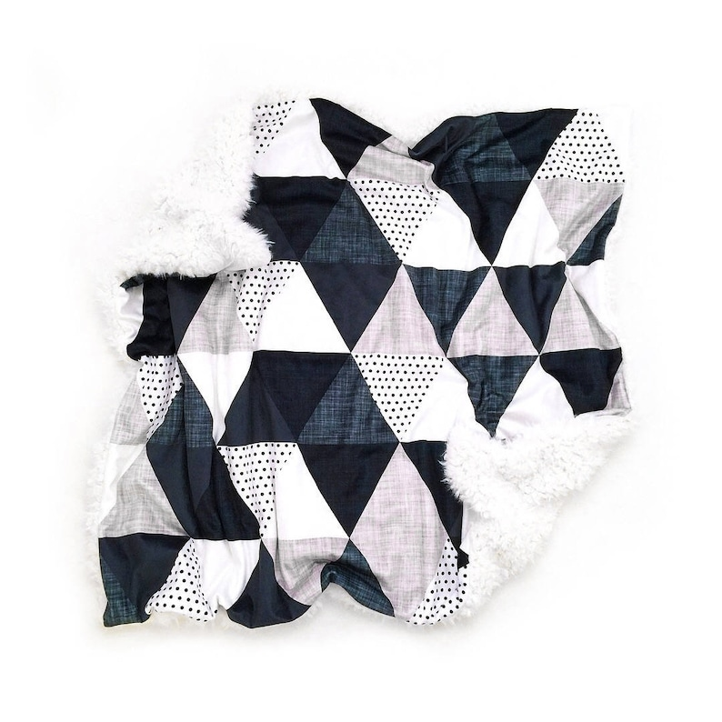 Baby Blanket Slate and Navy Triangle. The Cloud Blanket. Faux image 0