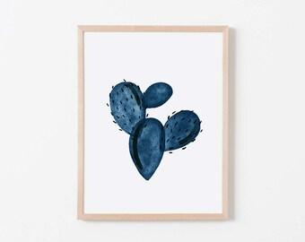 Navy Paddle Cactus III Nursery Art. Nursery Wall Art. Nursery Prints. Nursery Decor. Cactus Wall Art. Cactus Nursery.