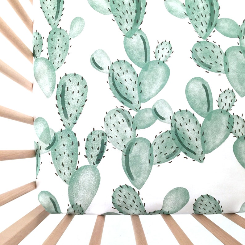 Crib Sheet: Green Paddle Cactus. Fitted Crib Sheet. Organic image 0