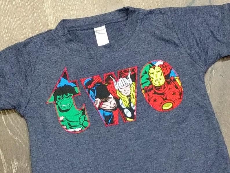 4f673fe1 Two Avengers Marvel Ready to Ship short sleeve boys birthday | Etsy