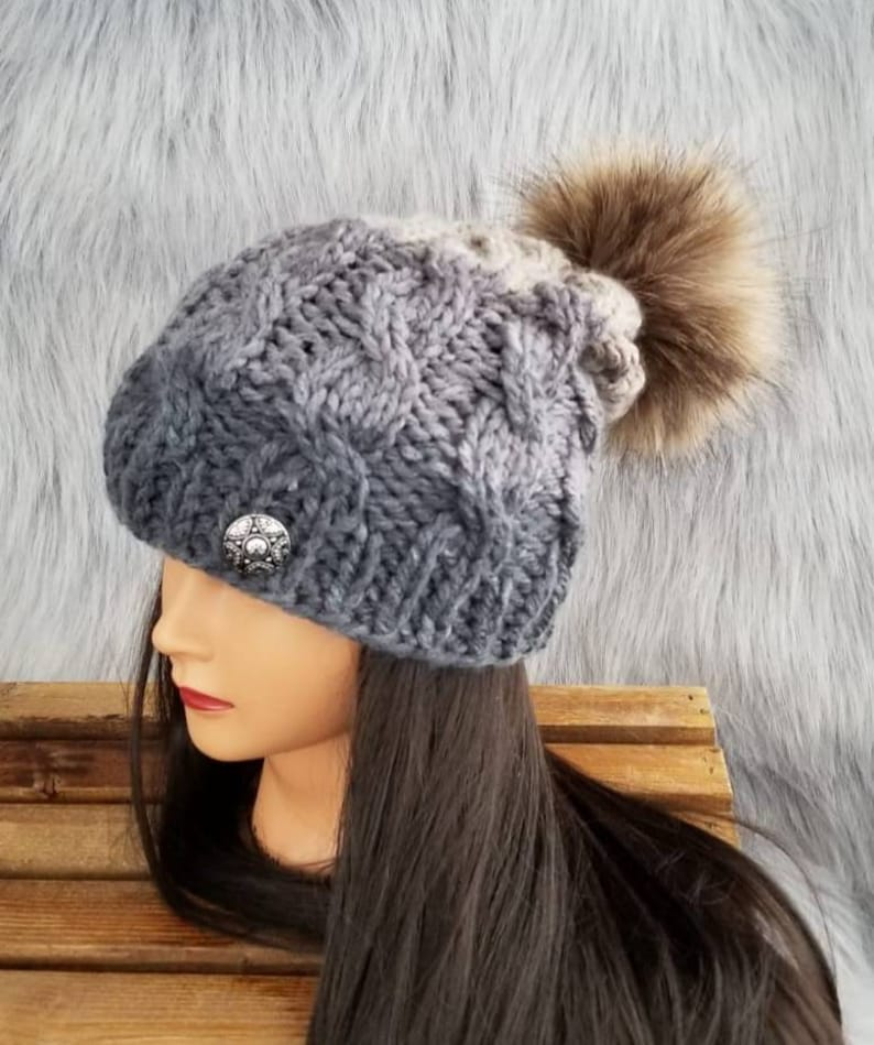 190702c471b Knit Cabled Fleece Lined Hat in Classic Colors with Faux Fur