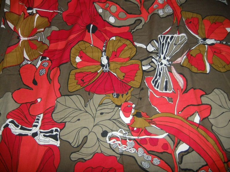 Great colors 1970s Great design Vintage butterfly cotton CurtainFabric