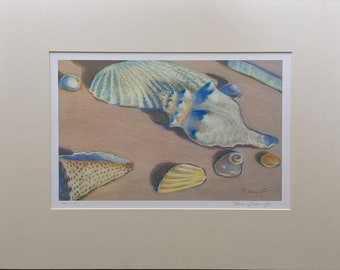 Seashells.  matted archival giclee from an original pastel painting from the beach