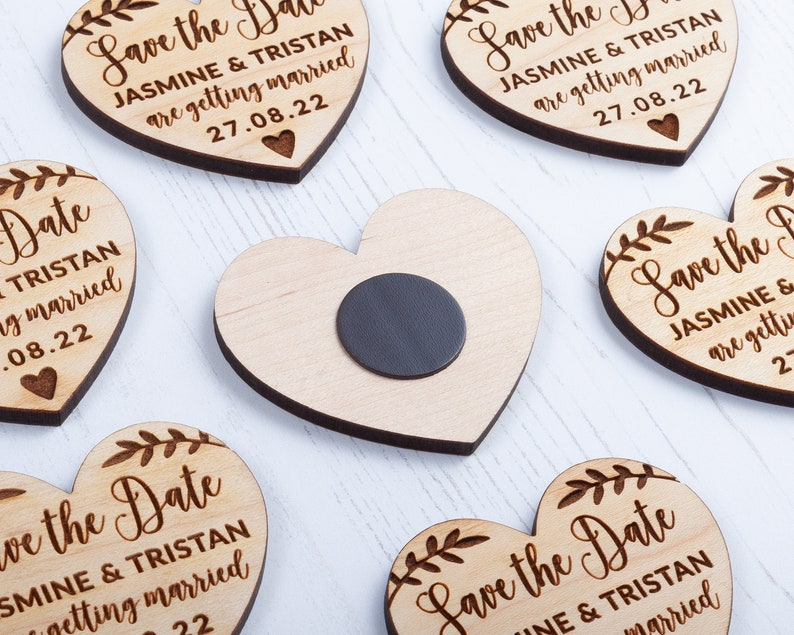 Rose Cottage Personalised Save the Dates Save the Date Magnet with Card /& Envelope Wooden Heart Magnets