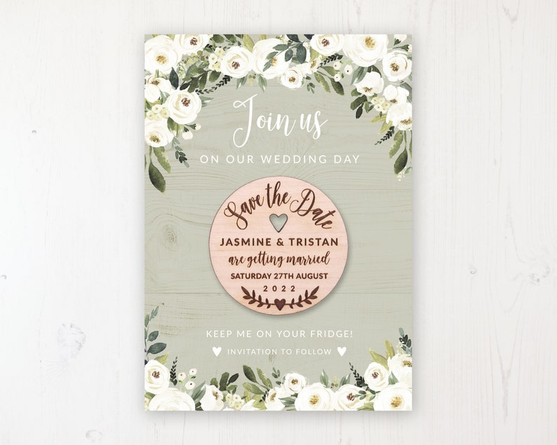 Personalised Save the Dates Round Wooden Magnets Save the Date Magnet with Card /& Envelope Forrester Green