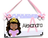 Personalized sweet princess nursery name door plaque - purple with stars - PK20 Kids Room Gift