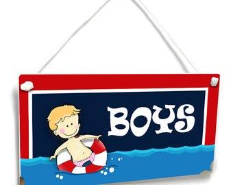 Pool Boys Bathroom Sign