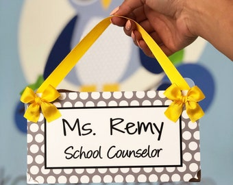 Personalized School Counselor Office Name Door Plaque - White and Grey Polka Dots - Cute Graduation Gift - P2175 Graduation Gift