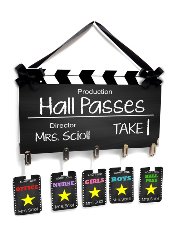 hollywood themed film take classroom hall passes sign etsy