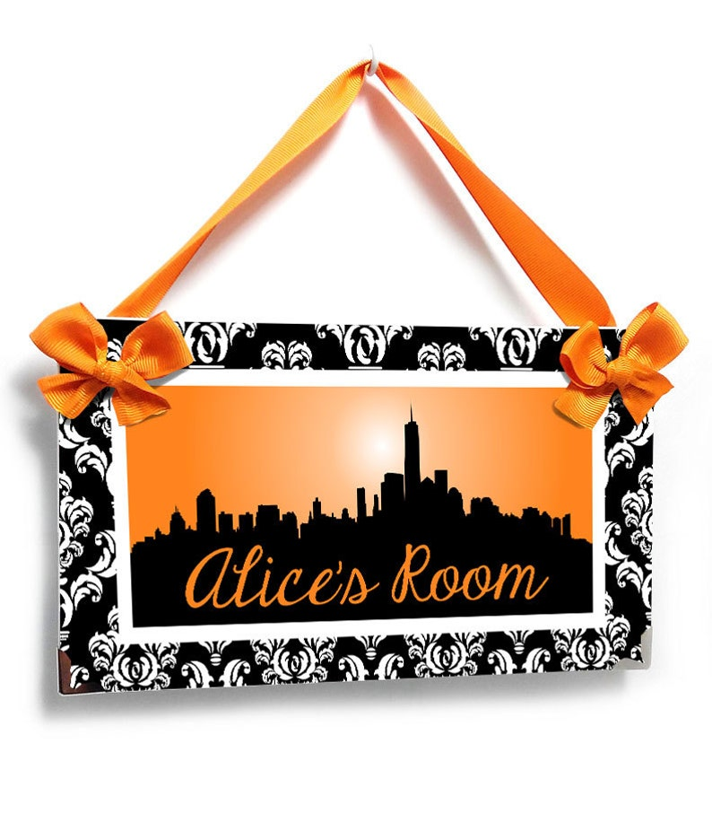 personalized NY sign for the bedroom black white and orange New York buildings inspired design P2552