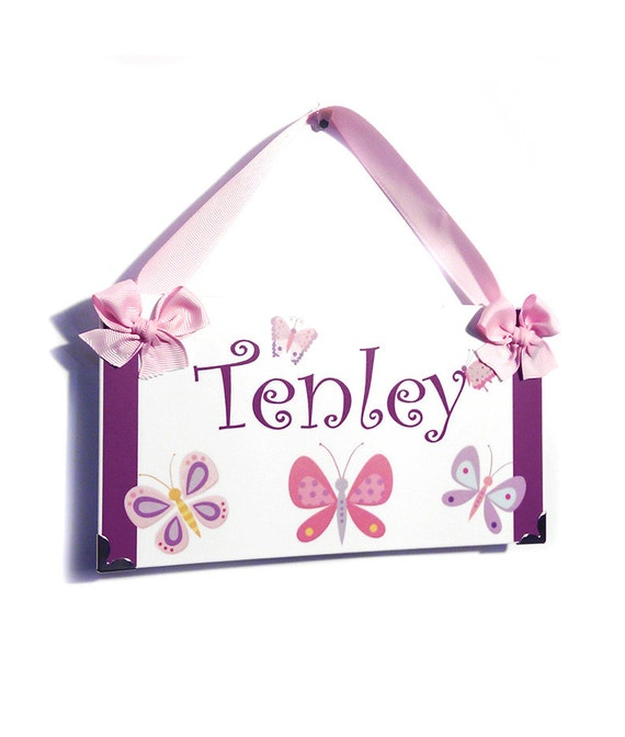 Lilac and Turquoise Butterfly Door Sign Pretty Design Girls Posh Bedroom Personalized Name Plaque DS0698