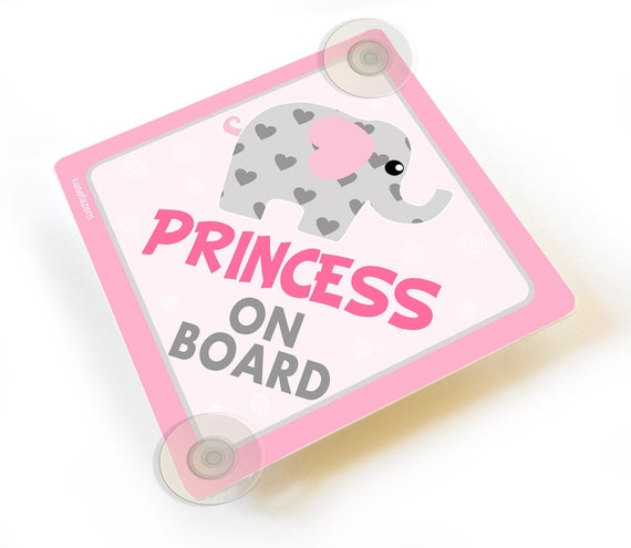 Mum and Dad/'s Princess On Board Suction Cup Car Sign Baby on Board