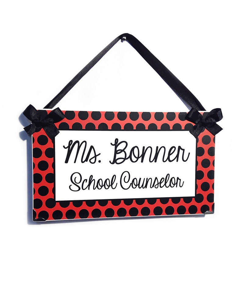 personalized school counselor classroom door sign - red white and black  dots - graduation gift - P2102
