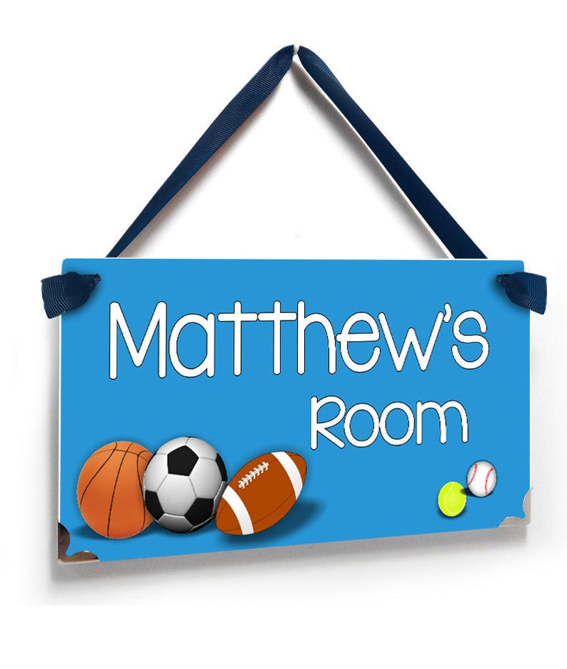 P2057 personalized sports themed kids bedroom door sign soccer football basket rugby