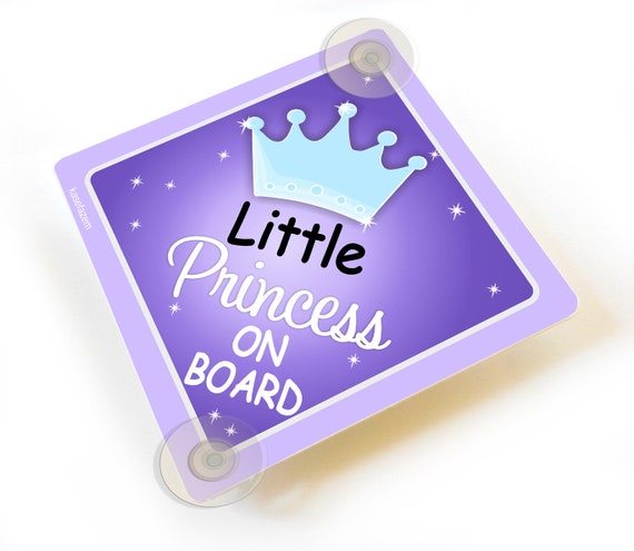 Non Personalised Child//Baby On Board Car Sign ~ Daddys Little Princesses ~Purple